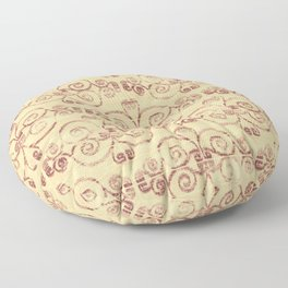 Farmhouse Scoll Diamond Ikat Pattern - Butter Brick Floor Pillow