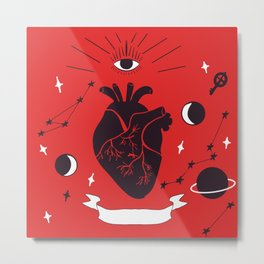all-seeing eye and heart, galaxies and key Metal Print