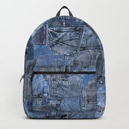 Blue Jeans Pocket Patchwork Pattern Backpack