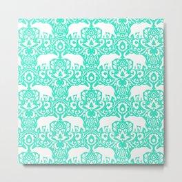 Elephant Damask Mint Metal Print