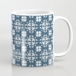 Dusky Blue Flower Flourish Pattern Coffee Mug