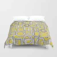 frames Duvet Covers featuring picture frames aplenty yellow by Sharon Turner