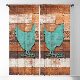 Rustic Chicken (Wooden Boards) Blackout Curtain