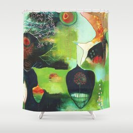 """Inner Whisper #1"" Original Painting by Flora Bowley Shower Curtain"