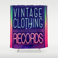 records Shower Curtains featuring Vintage Clothing Records by Wanker & Wanker