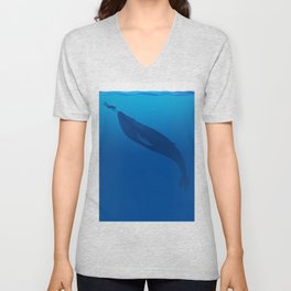 The Whale and a Human Unisex V-Neck