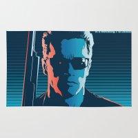 terminator Area & Throw Rugs featuring Terminator 2 - Alternative Poster by Lorenzo Imperato