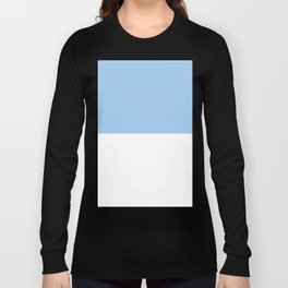 White and Baby Blue Horizontal Halves Long Sleeve T-shirt