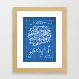 Airplane Jet Engine Patent - Airline Engine Art - Blueprint Framed Art Print