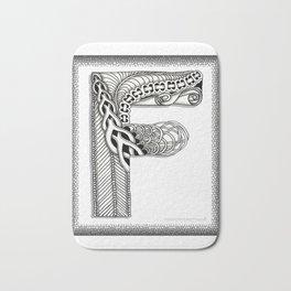 Zentangle F Monogram Alphabet Illustration Bath Mat