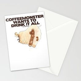 """thecoffeemonsters 565 """"Coffeemonster wants to drink it all!"""" Stationery Cards"""