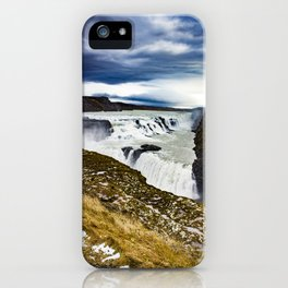 Clouds Over Gullfoss Waterfall in Iceland iPhone Case