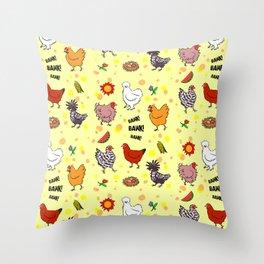 Cute seamless chickens pattern cartoon Throw Pillow