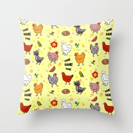 Cute seamless chickens pattern cartoon Throw Pillow
