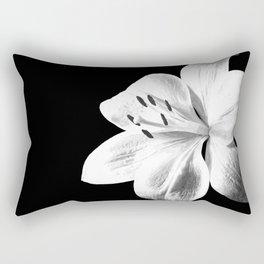 White Lily Black Background Rectangular Pillow