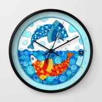 pisces Wall Clocks featuring Pisces by Sandra Nascimento