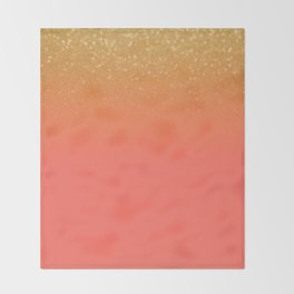 Living Coral Gold Glitter Throw Blanket