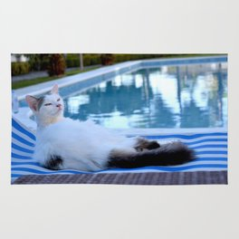 Cat resting on long chair by the pool Rug