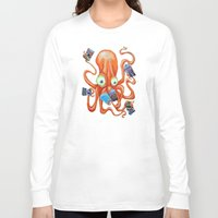 comic book Long Sleeve T-shirts featuring Comic Book Octopus by Bili Kribbs