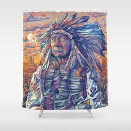 native american portrait-red cloud Shower Curtain