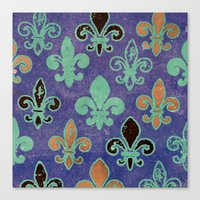 fleur de lis Canvas Prints featuring Fleur de lis #6 by Camille