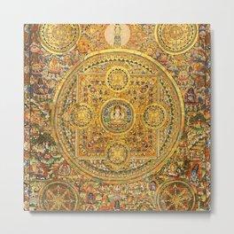 Buddhist Gold Avalokiteshvara Mandala Thangka Metal Print