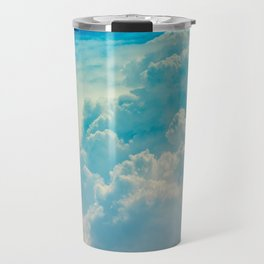 White Cloud In A Blue Sky Heavenly Fluffy Clouds Travel Mug