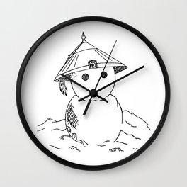 Cute Asian Snowman Wall Clock