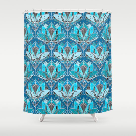 Art Deco Lotus Rising Black Teal Turquoise Pattern Shower Curtain By