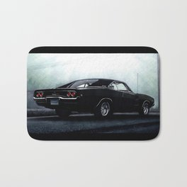 CLASSIC MUSCLE CAR DODGE CHARGER IN BLACK DURING FOG Bath Mat