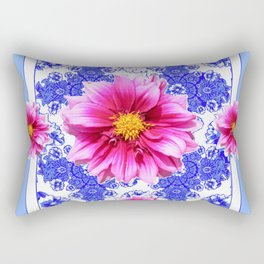Abstracted Blue Art Fuchsia Dahlias Geometric Stylized Floral Rectangular Pillow