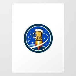 Beer Mug Rocket Ship Space Circle Retro Art Print