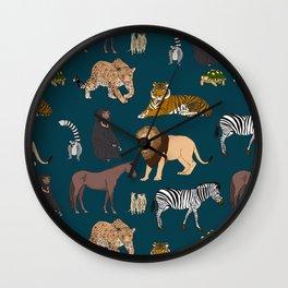 Wild Animals on Blue Wall Clock