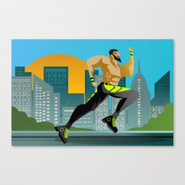 fitness runner training in the city Canvas Print