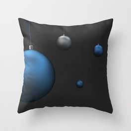 Set of blue and silver christmas balls Throw Pillow