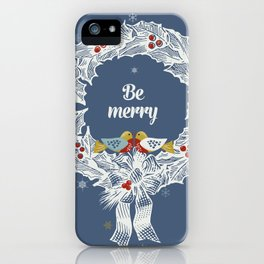 Christmas wreath with birds iPhone Case