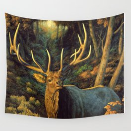 Bull Elk in Autumn Wall Tapestry