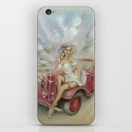 Girl and Classic Car - Vintage iPhone Skin