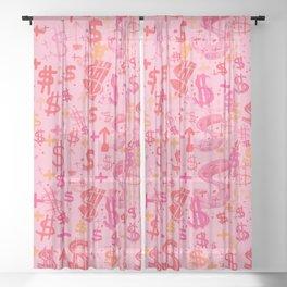 Pink Dollar Signs Sheer Curtain