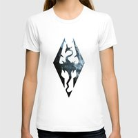 skyrim T-shirts featuring Skyrim Dragon by Victor Velocity