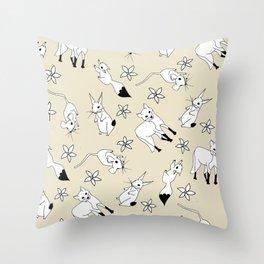 Woodland Creatures - Natural Throw Pillow