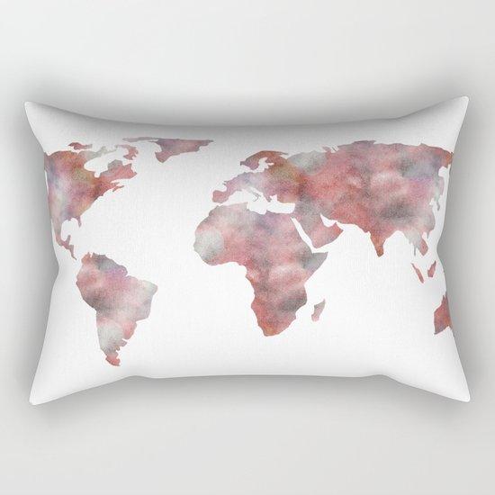 World Map in City Mod Red Slate Rectangular Pillow