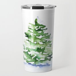 Watercolor Pine Tree Travel Mug