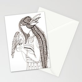 Native American woman with Hawk Abstract illustration Stationery Cards