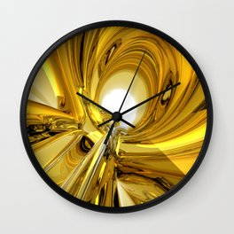 Abstract Gold Rings Wall Clock