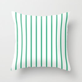 Vertical Lines (Mint/White) Throw Pillow
