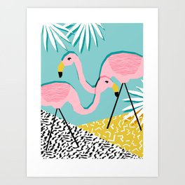 Bro - wacka design memphis throwback minimal retro hipster 1980s 80s neon pop art flamingo lawn Art Print