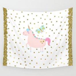 Pink & Gold Glitter Unicorn Wall Tapestry