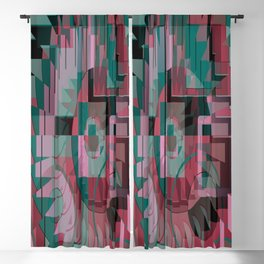 geometric abstract graphic design, red green pink black Blackout Curtain