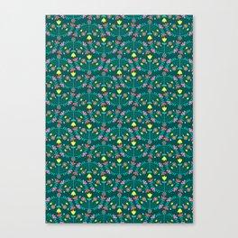 Folk Flowers Green Canvas Print